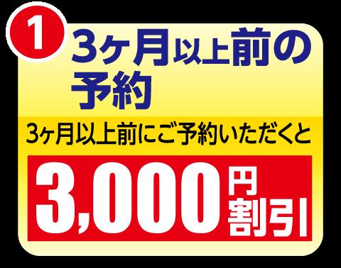 3ヶ月以上前にご予約いただくと3000円割引